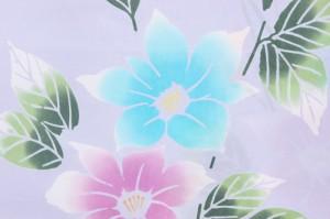 【呉服屋】【訳あり/女物 浴衣 反物】うす紫×水色×ピンク(花) 注染 本染め 小幅 両耳 生地 シック 上品 女浴