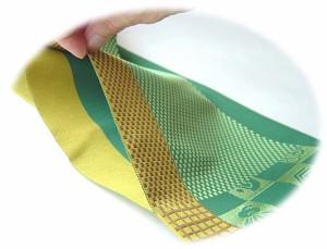 小袋帯(正絹本場筑前博多織)四つ菱(茶)