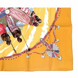 未使用 展示品 エルメス HERMES シルク カレ90 PERLESDUKENYA ケニアノ真珠 大判スカーフ オレンジ系 レディース 【中古】小物