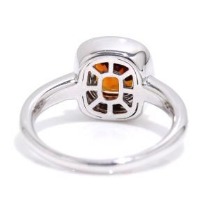 スペサルティン ガーネット 2.29ct ダイヤ 0.31ct K18WG 12号 18金ホワイトゴールド ダイア 指輪 【鑑別書付き】 レディース 【中古】NJ