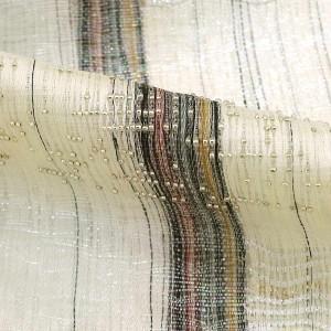 袋帯 夏 ビーズ 縞 ラメ お洒落 カジュアル 白 正絹 着物 きもの リサイクル レディース 【中古】和服