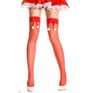 セクシーサンタ コスプレ サンタコス ストッキング 赤 リボン 網タイツ オーバーニー ニーソックス 靴下 セクシー サンタクロース バレン