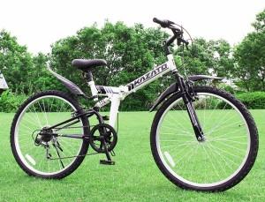 【完成品】折りたたみ自転車 マウンテンバイク 26インチ シマノ6段変速 Wサス KAZATO カザト MKZ-266