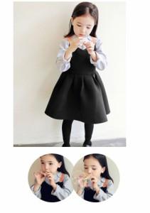 メール便送料無料 女の子用 ワンピース 子供服 キッズ 長袖ブラウスと合わせて、クラシカルなお嬢様スタイルに 入学式 卒業式