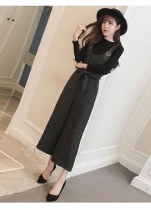 メール便送料無料 レディースファッション 女性 カバーオール 繋ぎ服 オールインワン ラシャ素材 ロング ブラック ベージュ