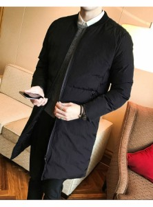 メンズファッション 男性 冬 ダウンコート アウター ロング丈 ブラック グレー ファスナー ボタン 丸首 中綿 カジュアル 抜け感 無地