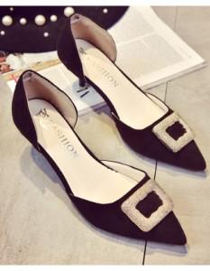 女性靴 レディース パンプス ローヒール ピンヒール プレーン スエード ファッション 通勤 脚長効果 サイド開き アクセサリー