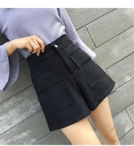 メール便送料無料 レディースファッション ボトムス ズボン パンツ ショート丈 短パン 秋冬 スエード風 無地 韓国風