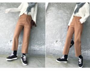 レディースファッション ボトムス ズボン ワイドパンツ ハイウエスト 厚手 カジュアル 無地 ベージュ ブラック
