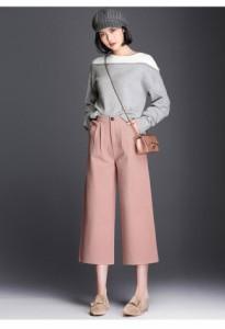 レディースファッション ボトムス ズボン ワイドパンツ ハイウエスト 厚手 七分丈 細身 太もも隠し