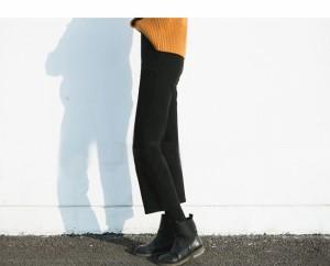 ボトムス パンツ ズボン 細身 女性 ウールタック 9分丈 レディースファッション スリム 韓国風 秋冬新作 細見え&美脚効果