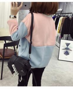 レディースファッション 女性 トップス プルオーバー パーカー 秋 冬 インナー 大きいサイズ シャーベットカラー 韓国風 配色