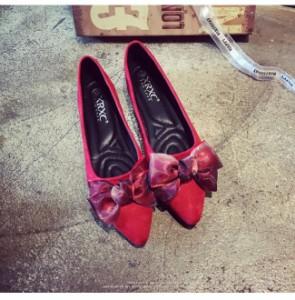 レディースシューズ 靴 フラット ぺたんこ スエード調 一目ぼれアイテム 韓国風 フェミニンフラットシューズ 韓国風 レースリボン