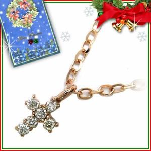 クリスマス限定Xmasカード付K18ピンクゴールドダイヤモンドペンダンネックレス