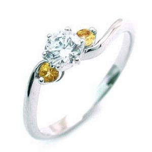 CanCam掲載( 11月誕生石 ) シトリン Pt ダイヤモンドリング(婚約指輪・エンゲージリング)