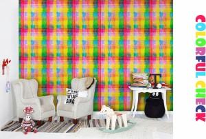 日本製 フリースデジタルプリント壁紙 Jebrille Wallpaper F☆☆☆☆取得品 Colorful check 巾46cmx長さ60cmカットサンプル 貼ってはがせ