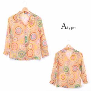インディア エスニック シフォンシャツ ファッション レディース トップス シャツ ブラウス アジアン カラフル サイケ ヒッピー