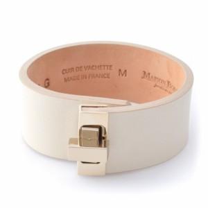 Maison Boinet メゾンボワネ 95093G-79-01-M Beige ヒネリ金具 レザー ブレスレット バングル 25mm