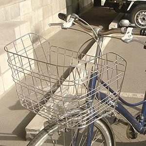 自転車用前カゴ ワイドカゴ ワイヤーメッシュ ステンレス D-55ST 軽快車、シティサイクル、ママチャリ用 自転車の前かご 自転車用前カ