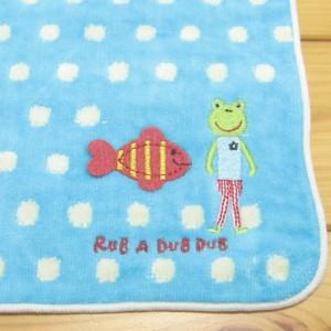RUB A DUB DUB(ラブアダブダブ) ドットタオルハンカチ ブルー カエル 金魚 カエル雑貨 ハンカチタオル キッズ 子供 日本製 女の子 男の