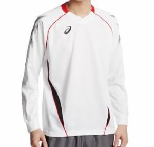 (アシックス)asics プラシャツ長袖 XW6605 0124 ホワイトxビビッドレッド M