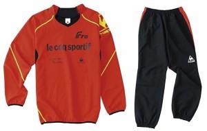 le coq sportif(ルコックスポルティフ) ウィンドプルオーバー・パンツ上下セット Mサイズ レッド QS-170223L-RED/QS-470223L-BRD