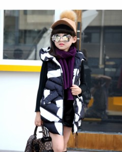 子供服 キッズ 袖なし ノースリーブ ダウンベスト 冬 韓国風ファッション 大きいサイズ ロング丈 ジオメトリック柄 プリント お洒落