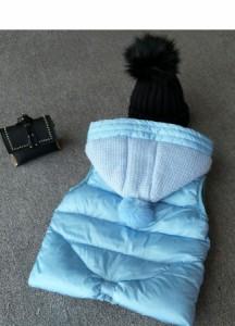 子供服 キッズ 袖なし ノースリーブ ダウンベスト 冬 韓国風ファッション シャーベットカラー 毛玉 ふわふわ 無地 お洒落