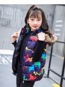 子供服 キッズ 袖なし ノースリーブ ダウンベスト 冬 韓国風ファッション フルカラー 迷彩 カモフラージュ プリント 帽子 ファー お洒落