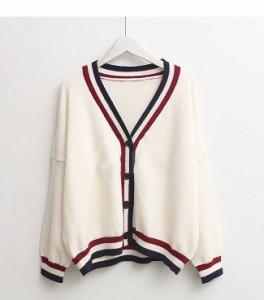 Vネックカーディガン学園風おしゃれ韓国風ファッション可愛い系流行先取りナチュラルマスト・アイテムニット羽織り