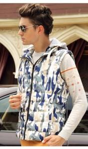 メンズファッション トップス 男性 ダウンベスト 袖なし ノースリーブ 防寒 冬服 ボアベスト ショート丈 プリント 迷彩 アウトドア