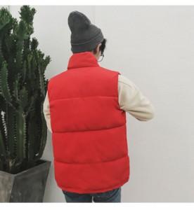 メンズファッション トップス 男性 ダウンベスト 袖なし ノースリーブ 防寒 冬服 ボタン 無地 レッド ホワイト ブラック ベーシック