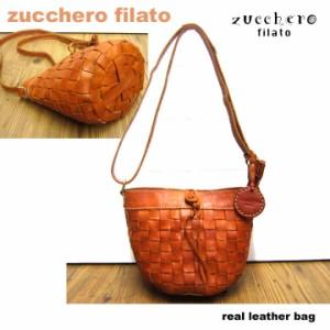 カジュアルバッグ 斜め掛けバッグ 鞄【zucchero filato】カウレザーメッシュバスケットショルダー