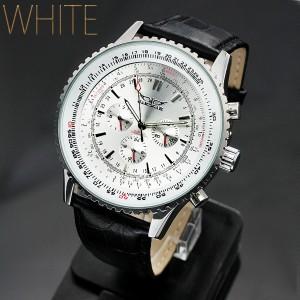 メンズ腕時計 全針稼動の本格仕様!】ビッグフェイス・自動巻きクロノグラフ腕時計【BOX・保証書付】