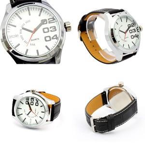632042ee8c 人気のビッグフェイスカジュアルウォッチビッグフェイス メンズ腕時計 クオーツ ホワイト ブラック日本製ムーブメント メンズ腕時計