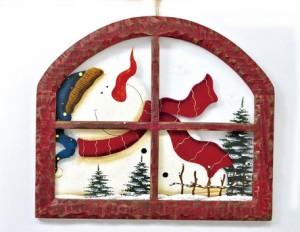 【クリスマス】【ガラスウィンドウ横】サンタ(LHK0341) /スノーマン(LHK0342) 【送料無料】(クリスマスツリー、オーナメント、デコ