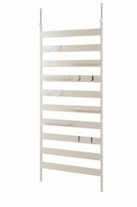 壁面突っ張りラダーラック 86幅 棚4枚付 ホワイト色(送料無料)(ウォール ラダーシェルフ はしごラック ウォールラック 壁面ラック