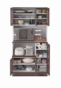 キッチンシリーズFace カップボード幅90 ダークブラウン【送料無料】(食器棚、レンジボード、キッチン収納家具)