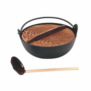 田舎鍋 (いろり鍋) 黒塗 敷板付 鉄製 15cm 日本製 国産 鉄分 補給