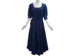 agnes.b アニエスベー ワンピース レディース ドレス フォークロア 五分袖 コットン100% レース+刺繍 リボンベルト ネイビー
