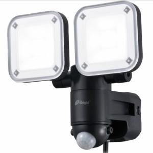 OHM LEDセンサーライト 屋外防雨 コンセント(AC)式 防犯対策 2灯 LS-A2165B-K 07-9920 オーム電機
