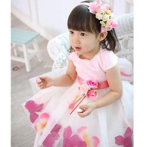 7aa648061ee7d ☆ 送料無料  海外 キッズガール女の子フラワーガール 半袖花びら
