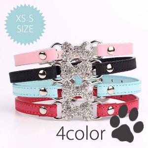 [送料無料][海外]キラキラリボンがかわいい犬用首輪[XSSの2サイズ展開]小型犬用[納期:約2-3週間]