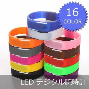 ▼[送料無料][在庫限り]レディースメンズデジタル腕時計[選べるカラー全16色]LED防水ラバーシリコン[カラー:ピンク]