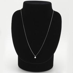 【鑑定書付】 ダイヤモンドペンダント/ネックレス 一粒 K18 ホワイトゴールド 0.3ct ダイヤネックレス 6本爪 Fカラー