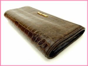 ミュウミュウ Miu Miu 財布 長財布 クロコダイル型押し レディース 中古 Y1459