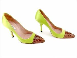 c9806b4828aa プラダ PRADA パンプス シューズ 靴 レディース クロコ調切替え 【中古】 T5762
