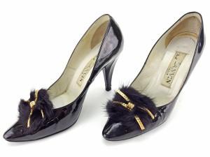 30d608f47ee5a6 ランバン LANVIN パンプス シューズ 靴 レディース ファーモチーフ付き 【中古】 L1267