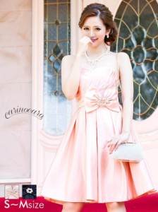 199c89959eb23 ドレス キャバ ワンピース SMサイズ リボンブローチ×ビジューブローチ付きAラインミニドレス パーティー