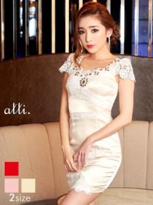 ドレス キャバ ワンピース S/Mサイズ サテンxフラワーレースタイトミニドレス キャバドレス